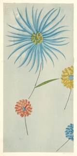 Large abstracted blue and pale blue flower with circular_______ and long thin bi-colored petals on short stem with three floating bi-colored zinnia type flowers on short stem.  All on pale blue background.