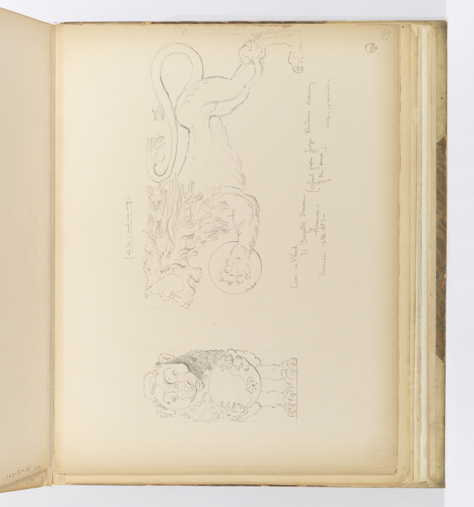 Horizontal sheet tipped vertically into binding.  Depicted is a leaping lion clutching an orb with a fleur-de-lys.  The lion is seen from the front and also in profile.  Both sketches have very faint guide lines inscribed to assist with transfering the drawing to the sheet.