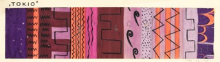 Varied colorful registers with black overdrawing: zigzags, waves in shades of pink, purple, gray, and brown.