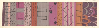 Varied colorful registers with black overdrawing: zigzags, waves in gray, pink, and ochre.
