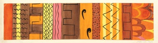 Varied colorful registers with black overdrawing: zigzags, waves in shades of yellow, pink, brown, orange, and red.