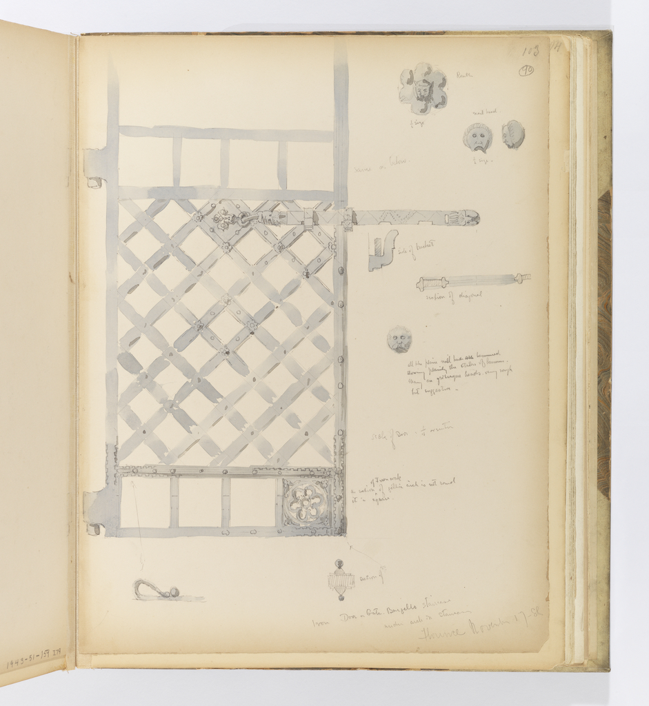 Vertical sheet depicting in great detail an iron gate.  The center of the gate is composed of lattice strips of iron.  Above and below are four square panels, though only the bottom right panel contains an openwork rosette, though it is possible that the artist implies that this is repeated both above and below. The gate has a long latch with notches at the bottom so that it can be made shorter or longer.  The latch has a small detail of a head at the end.  In the margin of the sheet are fuller renderings of details only sketched in the larger drawing.  These are a rosette; a figural nailhead seen from the front and in profile;  the side of a bracket; a section of one of the lattice pieces; a section through the door at the bottom; another figural nailhead; and other details of the ornament.