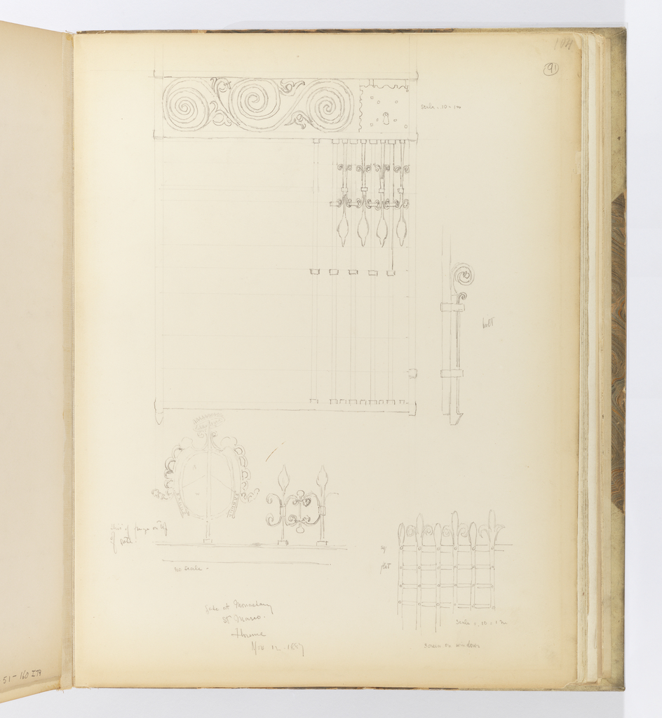 Vertical sheet consisting of three main sketches, all elements of ironwork at the monastery of San Marco.  Above is a gate rendered in detail only from above and at upper right.  The gate is made up of long vertical members that have scroll ornament and terminate in a leaf-like end.  The upper section of the gate has three large connected scrolls.  This sketch is scaled.  To the right of this drawing is a sketch of the bolt that presumably locks the gate.  At bottom right is a drawing of a window screen or grille also made of iron.  Its members intersect to form a screen, while the vertical members protrude past the top of the screen and alternate ending in a leaf or fleur-de-lys.  This drawing is also scaled.  At bottom left is the top of a gate with a pod-shaped element with lobes around its sides, and it is topped by a spiky crown.  To the right of it are smaller ironwork details.