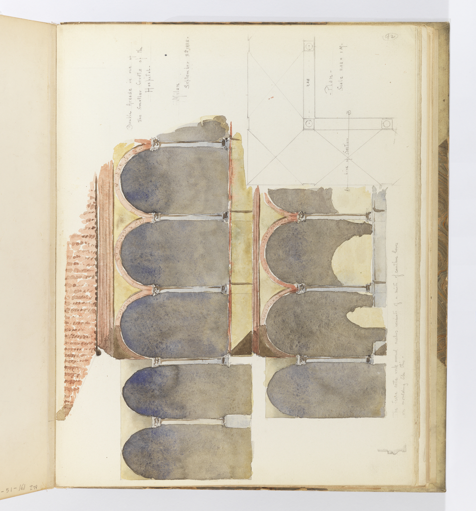 Horizontal sheet tipped vertically into binding.  Depicted is the elevation of a double arcade supported by Corinthian columns.  The bottom right corner of the sheet illustrates a plan of three of these arcaded bays with columnar supports, and the artist has inscribed a note about the distance between them.
