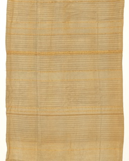 Drapery panel in beige colored silk and cotton with bands of Lurex thread.