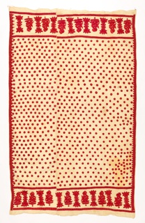 Rectangular panel with deep border at each end with tall flowering sprays; field of coin dots. Embroidered in brilliant red silk floss on undyed cotton.