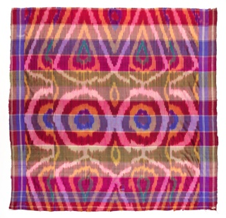 Thin silk with narrow cross stripes in white. Warps printed in shades of red, violet, blue and green. At center, large circular pattern above and below diamond shapes and a row of tree-like forms.