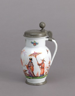 Oviform body with straight neck and flange, and strap handle.  Polychrome and gilt chinoiserie: man holding parasol over a smoking dignitary, and two men and two childern.  On neck, kakiemon flowers.  The hinged cover is of pewter.