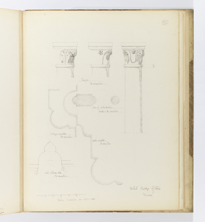 Vertical sheet with sketches of the details of the bridge.  At center is a plan view of the bridge's decorative moldings and balustrade.  Above are sketeches of three  bridge columns with modified leaf and scroll capitals.  At lower left is an elevation of the pointed arch between the bridge columns, with a scale of the drawings below.