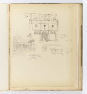 Vertical sheet depicting a large, triple-bay masonry edifice with a round arched entrance at center, flanked by two blind niches with round arched openings above.  The second level has three small square windows with small cornice and ruined space above with only columns standing.  Below left is a sketch of the interior of a public bath.  There is a large pool in the center of a rectangular space that is encircled by a colonnade.  At the far end of the room are two round arched openings.   At right is a plan view of a groin vaulted space, a rectangular colonnaded room with small arched bays around the perimeter, and another colonnaded rectangular room to the right.