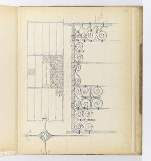 Horizontal sheet tipped vertically into binding.  Depicted is an elevation view of a wrought iron gate rendered in slate blue wash.  The gate is composed of elaborate configurations of scrolling elements joined together by small straps of iron.  Below this is a larger, detailed view of the gate's scrolling elements and attachment points to the larger frame.  At left is an iron cross with an open quatrefoil at the crossing. The arms terminate in a stylized lily or fleur-de-lis.