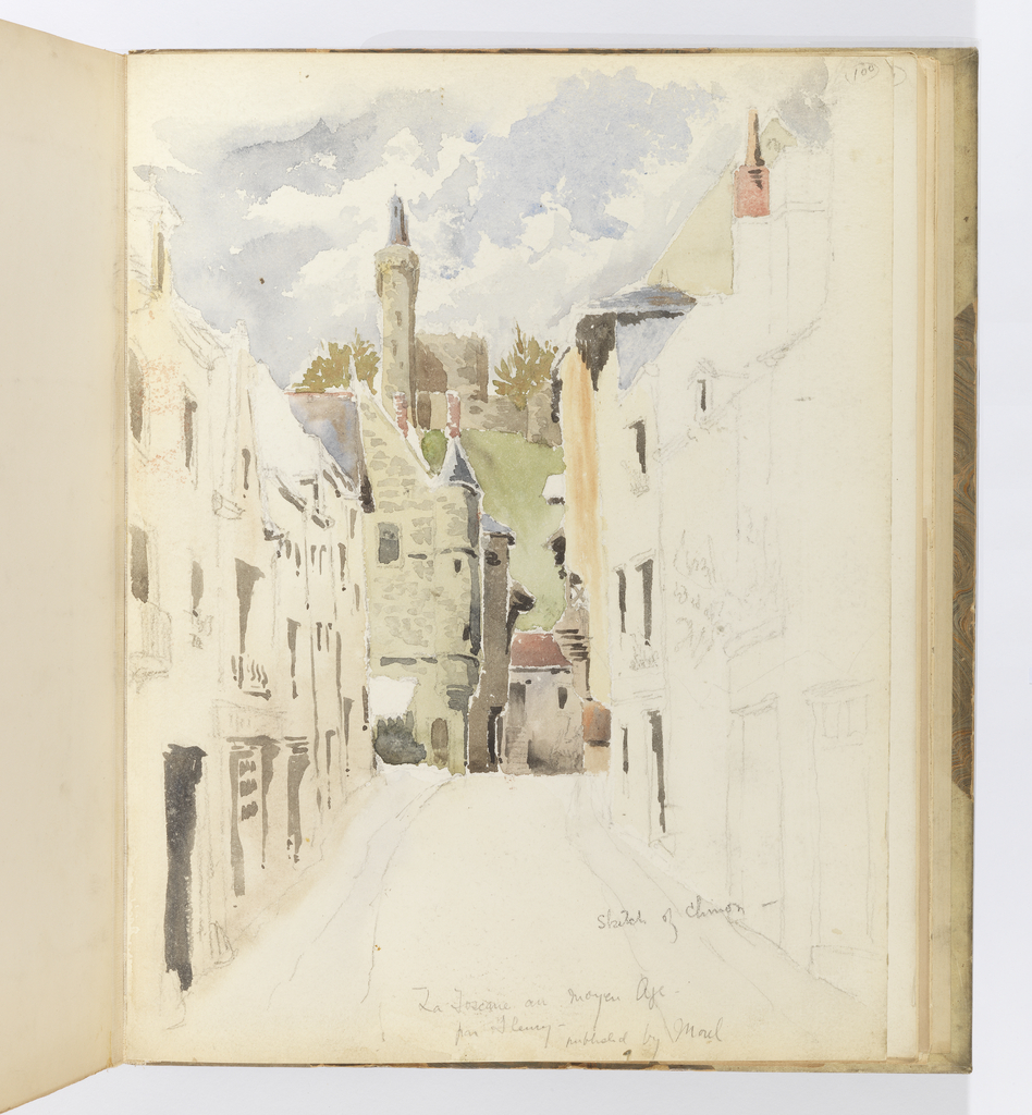 Vertical sheet depicting a street looking toward the buildings of a medieval town.  The road is flanked by very lightly sketched three-story buildings with only the shadows colored with wash.  At the end of the street are turreted masonry buildings and a green hill with trees behind them. These buildings and the sky above have been colored.