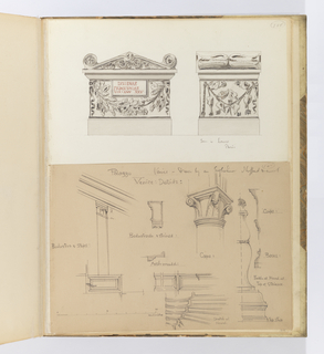 Horizontal sheet cut down depicting architectural details of a palazzo.  At left, baluster is shown in elevation and in plan below.  To the right is a cross-section of the balustrade and a molding detail below.  At right is the top of a column and capital that supports an arch.  To the right of this, the profile of a column base and capital are drawn.  At the bottom right are a newel and circular staircase as well as the newel post at the top of a staircase.  The scale of the drawings is given at lower left.