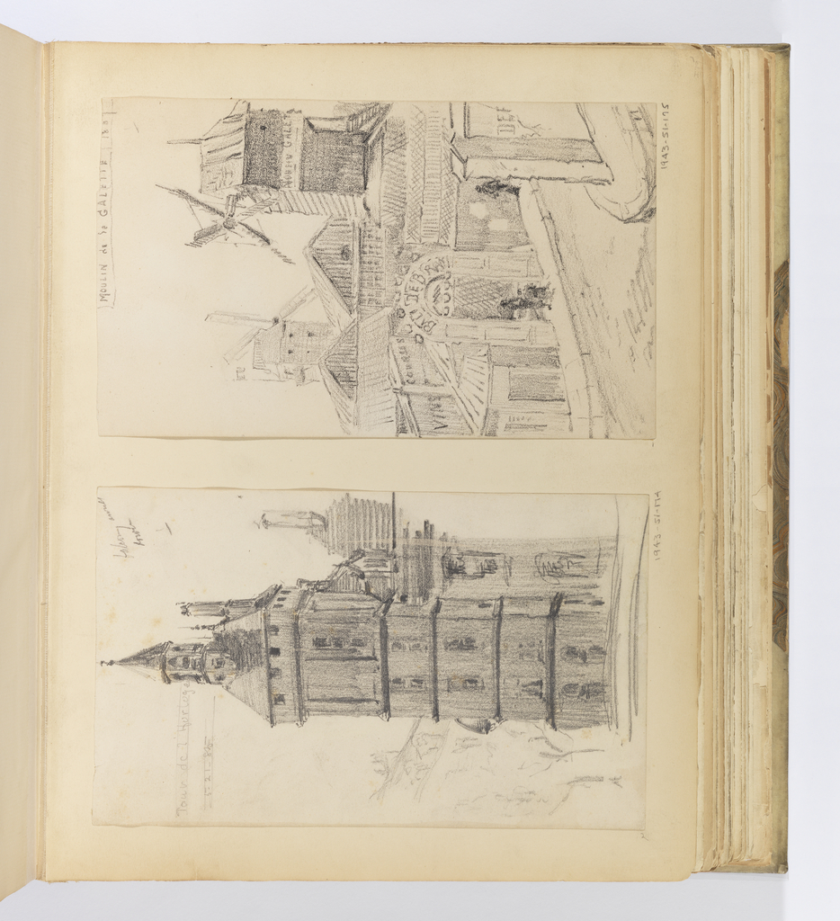 Vertical sheet depicting the corner of the Moulin de la Galette, with the two windmills visible above the low timbered buildings.  At the corner is the round-arched entrance to the Bal d'Ebray where two figures stand in the doorway.