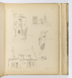 Vertical sheet illustrating sketches of buildings or architectural details in the town of Laon, including the Cathédrale Notre-Dame de Laon seen from the southwest, a stair turret, one of the town gates, and a small tile-roof house with two chimneys at either end.