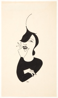 Bust of a woman, whose shoulders and arms make one black triangle, her leaf-like hat, another. Her hand with the cigarette at her chin.