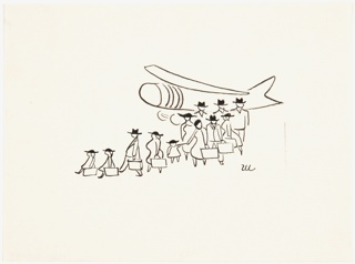 Twelve people, three of them children, disembarking from an airplane, behind them.