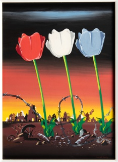 Design for an advertisement for American Silk Mills. Three tall tulips in red, white, and blue in a desolate landscape at sunset. In the distance, architectural ruins of a town. At the ground, debris of war including helmets and coils of barbed wire.