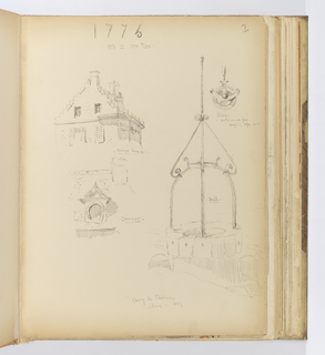 Vertical sheet depicting five sketches of buildings or architectural details in Coucy-le-Château including the corner of a Renaissance house, a dormer, a well head with decorative ironwork, a pulley, and the date 1776 written in iron ties.