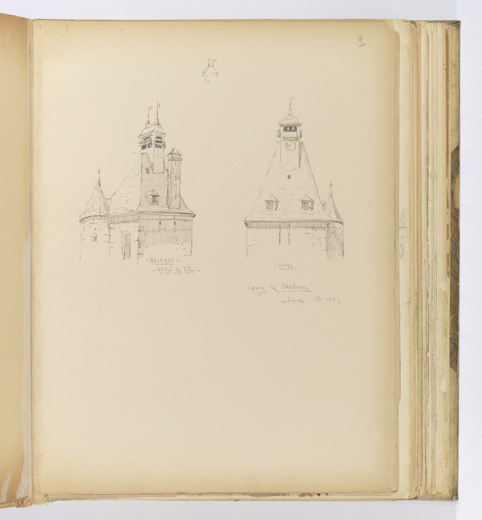Vertical sheet illustrating two views of the belfry of the Hotel de Ville in Coucy-le-Château.  The mansard roof has two small louvered dormers below the clock tower above.  A small turret with faceted roof is visible to one side.  A very small drawing of a chimney is at the top of the sheet between the two larger drawings below.