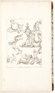 First book (dedicated to Lord Middlesex): title page and six plates, dated 1741, of rocaille cartouches; second book (dedicated to the Earl of Holderness): title page and five rocaille motifs, dated 1742; third book (dedicated to the Duke of Rutland): title page and six plates of cartouches, dated 1743; fifth book; title page and fourteen plates (one bound upside down) of furniture, dated 1743; sixth and seventh books: title pages (half-size) and fourteen plates of cartouches, undated; eighth book: title page and six plates of jewelery, dated 1747.