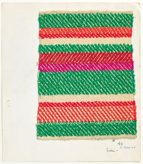 Woven sample mounted to a cardboard card with notations by the designer. Horizontal stripes of varied widths in green, red, bright pink and white with herringbone pattern. Warp is white cotton; wefts are green bouclé, red chenille, red two-ply yarns, white chenille, and bright pink three-ply yarn.