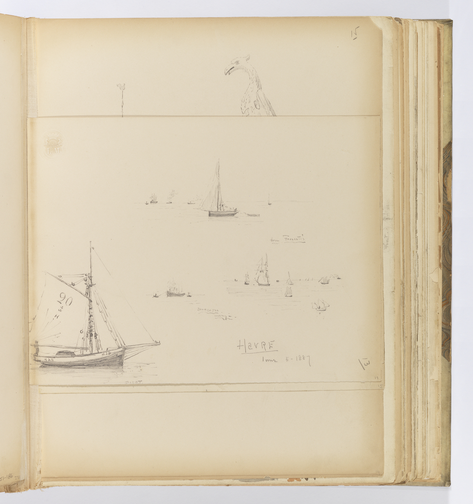 Horizontal sheet that has been cut down, but centered vertically in the binding.  Depicted are four different scenes of ships on the water.  Three scenes show boats that are in various points of the water, both near and far.  The smallest at left shows a large vessel being pulled by a tugboat.  At bottom left is a sailboat with H.20 painted twice on the starboard side of her hull.  The sails also are identified with the same lettering: 20 / (anchor symbol) / H.