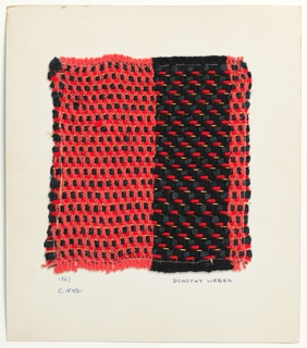 Woven sample mounted to a cardboard card with notations by the designer. Wide vertical bands, one primarily red and the other with black predominating. Warp is of single red bouclé yarns and paired black plied yarns. Weft is red plied yarn, black smooth yarn, and flat copper metallic strips paired with metallic gold wrapped yarns in regular sequence.