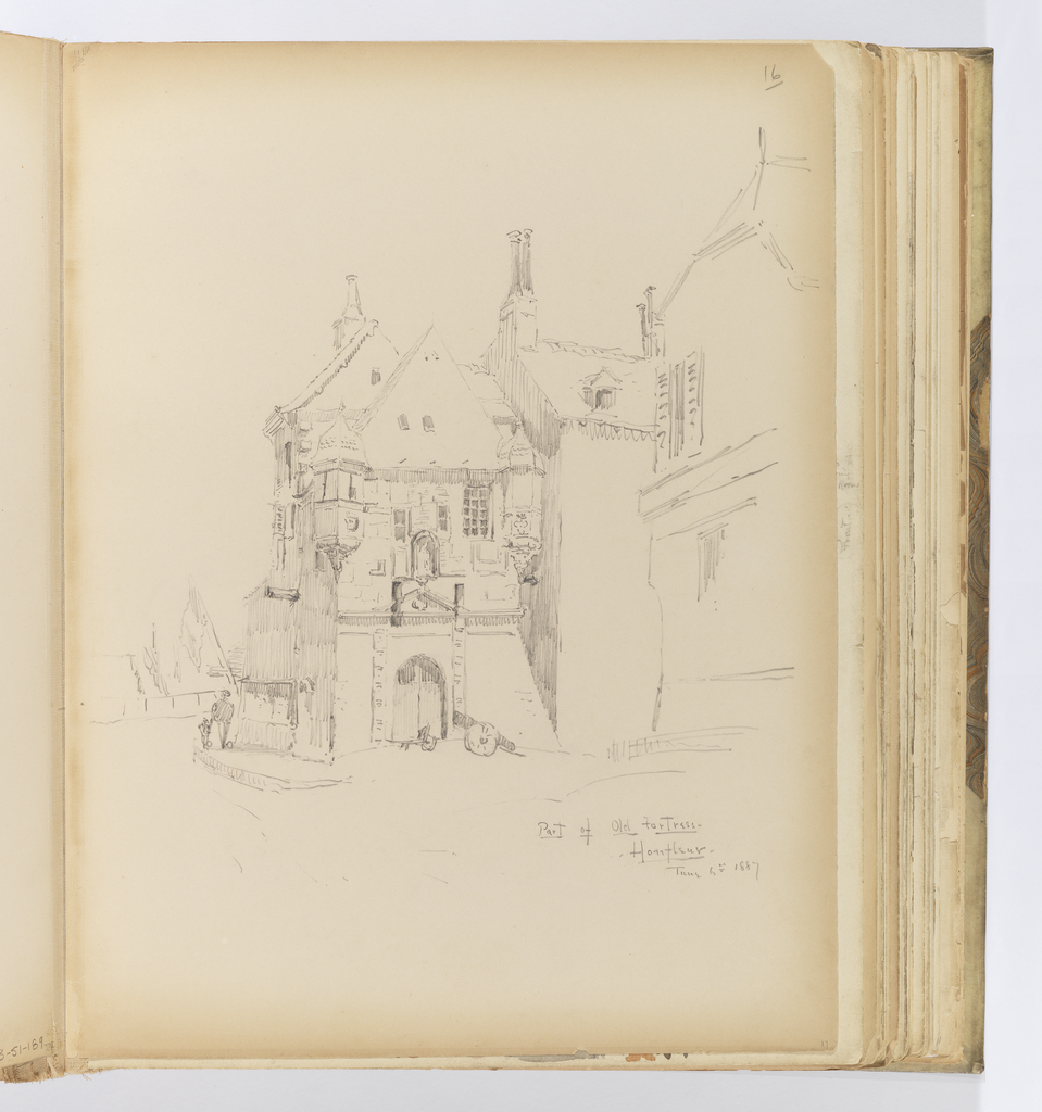 Vertical sheet depicting a large, medieval masonry structure with many later Renaissance and Baroque additions.  The mass of the building on the right is only sketched so as to understand its volume, while the section of the building at left has been fully rendered to capture the details of the rusticated stonework, the arched entrance and wood doors, a canon, and the irregularities of the roofline with its chimneys and turrets.