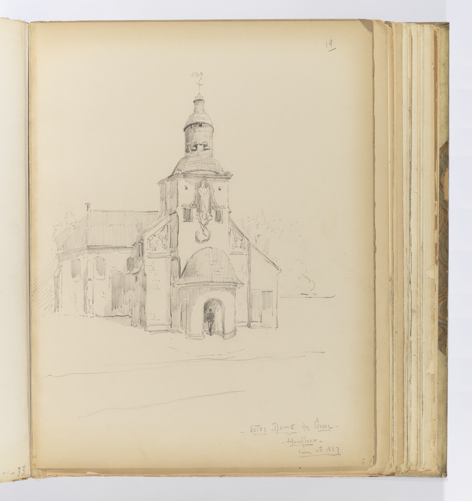 Vertical sheet depicting a small early Baroque church seen from the west.   The west facade has a semicircular portico with a small clock tower above.  Above the tower is a niche with a statue of a woman holding a child on her left hip. Given the statue's location and the dedication of the church to the Virgin Mary, it is likely a staute of Mary holding Christ on her hip.  The tower is completed by small cupola and finial in the shape of a rooster.  Visible beyond the west entrance are the two buttressed arms of the nave, and small round arched windows of the aisles.