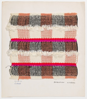 Woven sample mounted to a cardboard card with notations by the designer. Balanced plaid in white, black and rose with horizontal stripes of white novelty yarn. Warp has stripes of rose four-ply cotton and white two-ply synthetic yarns. Weft has bands of paired shiny black cellophane; red, pink and white yarns, and textured white woven braid. The white warps operate singly and the rose warps are alternately paired and unpaired.