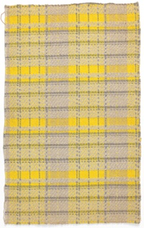 Plaid design in grey chenille and yellow cotton.