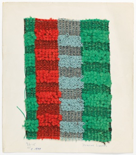Blocks of pile (uncut loops) in stripes of green, red and blue.