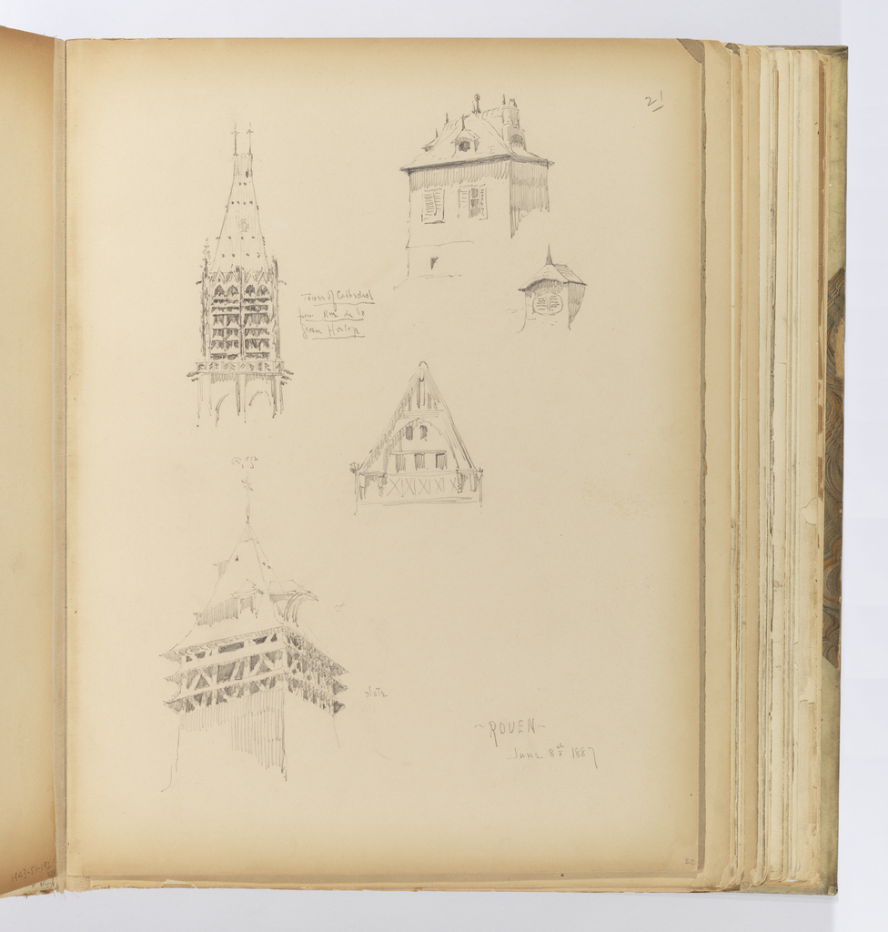 Vertical sheet depicing four sketches of steeples or roofs of buildings.  At top right is a square timbered building with irregular roof dormers that do not match.  The dormer over an oval window opening is drawn again in greater detail below, showing the dormer's prominent spike finial.  To the left of this is the drawing of a Gothic tower ending in a tall steeple ornamented with crockets and twin crosses at its apex.  Below this is a drawing of a steeply pitched roof, its gable covered by wooden timbers creating a pointed arch, with a balcony along the lowest row of windows. At bottom left is a tower with three levels ov eaves, and the roof with a large, overhanging dormer on the right side.
