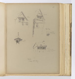 Vertical sheet illustrating four sketches of dormers, roofs, and gables.  In the upper left of the sheet is a drawing of a gabled roof whose left side has an irregular flare out at the eave.  Over two windows is a small canopy supported by timbers from underneath.  At right is a gabled roof with a pointed wooden arch  framing a row of windows that are shielded by a canopy above.  To the right of this is a small sketch of the bottom of a chimney showing it supported by two brackets from underneath.  At lower left is a sketch of a dormer with a large overhang supported by two curved brackets on either side of the window frame, and a small decorative finial above.  At lower right is the upper part of a structure that has a loggia with three openings shielded by the eave above which is supported by timber brackets.