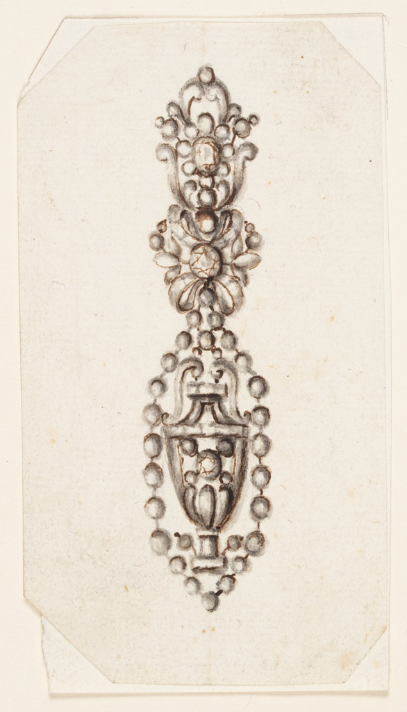Design for an earring. Above is a kind of escutcheon with a blossom of diamonds. Below, an oval formed by a row of beads, with a vase inside. Both parts are connected by a knot, with a central diamond and two lateral stems. Bevelled corners.