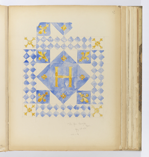 Vertical sheet depicting a tile floor pattern in shades of blue, white and yellow.  At the center is a large capital H in golden yellow on a blue ground made of four tiles, and radiating around this to form a square in the center are four small yellow quatrefoils at the cardinal points, and four tiles with golden yellow fleur-de-lys also on a blue ground at the ordinal points.  This pattern is then surrounded by a blue and white diaper pattern with a tile at the ordinal points repeating the quatrefoil and fleur-de-lys motifs.