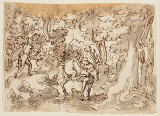 Recto: A forest scene with a stag standing in the center foreground, scratching his right ear. In the background left, a huntsman is preparing to shoot an arrow at the animal. This is Stradanus's preliminary drawing for a print (pl. 36) in the Venationes Ferarum, Avium, Piscium series, engraved by Jan Collaert II and published in Antwerp by Philips Galle. The  finished drawing is at the Louvre (Musée du Louvre, Paris , inv./cat.nr 20.497).  Verso: Seven lines of inscription below sketch of the hunstmen and stag, both by Luigi Alamanni, Stradanus' advisor and collaborator.