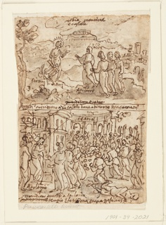 Drawing, Four scenes from the life of Apollonius of Tyana (recto and verso)