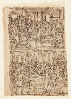 Recto, above: Apollonius Curing a Young Athenian Possessed of a Demon; Apollonius Raising a Girl from the Dead in Rome (bottom)  Verso, above: Apollonius Predicting the Year of the Three Emperors in Syracuse; Apollonius Predicting the Acquittal of a Man Condemned to Death in Alexandria