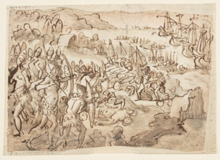 Drawing, Conquest of the Philippine Islands, preliminary design for grisille painting realized by Stradanus' son Scipione, for the obsequies in memory of Philip II of Spain, held at San Lorenzo in Florence on 12 November 1598