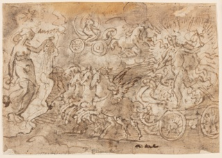 """Horizontal rectangle. Apollo, appearing in a blaze of light, moves toward left on a chariot drawn by four winged horses. Aurora stands at left. Inscription: """"Aurora,"""" near upper left. Handwriting on recto."""