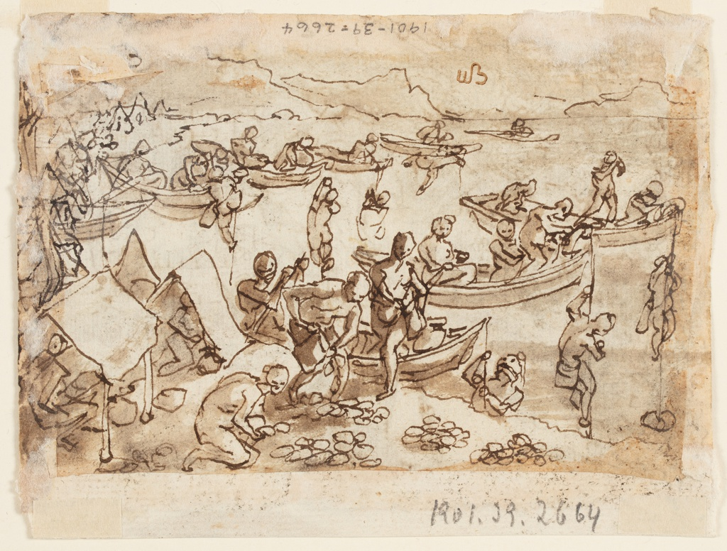 Female figure seated under a tree holding a falcon on her right wrist surrounded by hunting horns, dogs, and bows and arrows, recto.  View of semicircular, mountainous coastline with tents pitched at the water's edge.  Two parallel rows of boats float in the water and figures raise or lower themselves from lines attached to the bow.  In the foreground figures step off the boats onto the shore carrying small bags; some bags are visible laid on the shore and are gathered together by figures crouching on the shore or under the tents, verso.