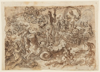 Neptune with his triton standing on a chariot composed of a sea shell drawn by two sea horses. Sea horses and mermaids surround the chariot.
