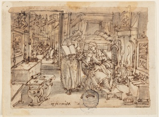 """Horizontal rectangle. Interior, with an old woman seated in an armchair before a fire. Her left leg rests on a footstool, crutches are beside her. A woman stands to her right, holding an open book. Through the open door, in the background, left, a group of figures stand in the city square. Inscription, lower left: """"Infirmità."""""""