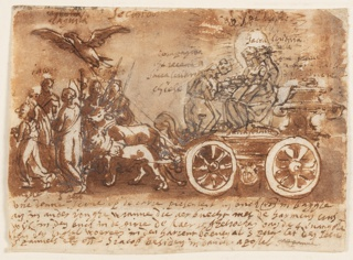 A chariot drawn by a bullock and a goat. Two female figures seated in the chariot. One has a halo. The reins are held in the beak of a large bird flying ahead of the goat and bullock. Verso: inscription.
