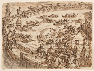 Recto: A large sea-serpent is contained within an oval ringed enclosure. A group of people, right, watch the activities of a number of men, in open boats, who attack the serpent. Verso: seven lines of inscription, describing the scene as told by Pliny the Elder in his Natural History, book 9 ch.5