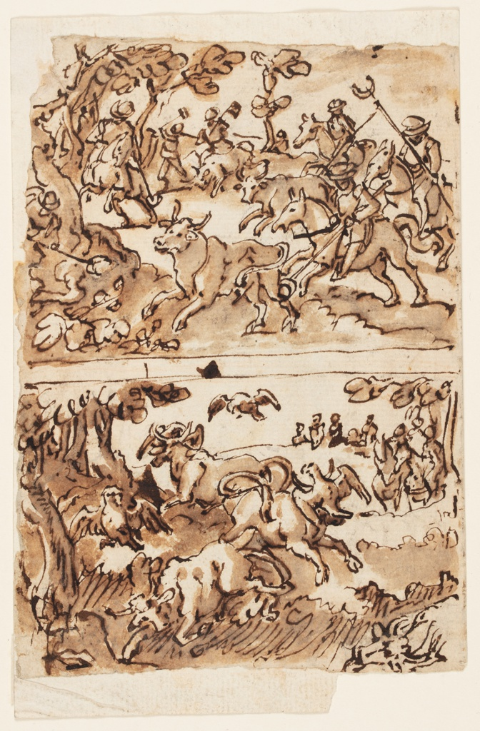 Vertical rectangle. Full length figure. Verso, top: Four horsemen hunt two bulls. They are helped by people, two of whom are killing a bull. A bull hunt with falcons is below a separating strip. One of four hunted bulls was killed; another collapses. Watching horsemen are shown in the right background.