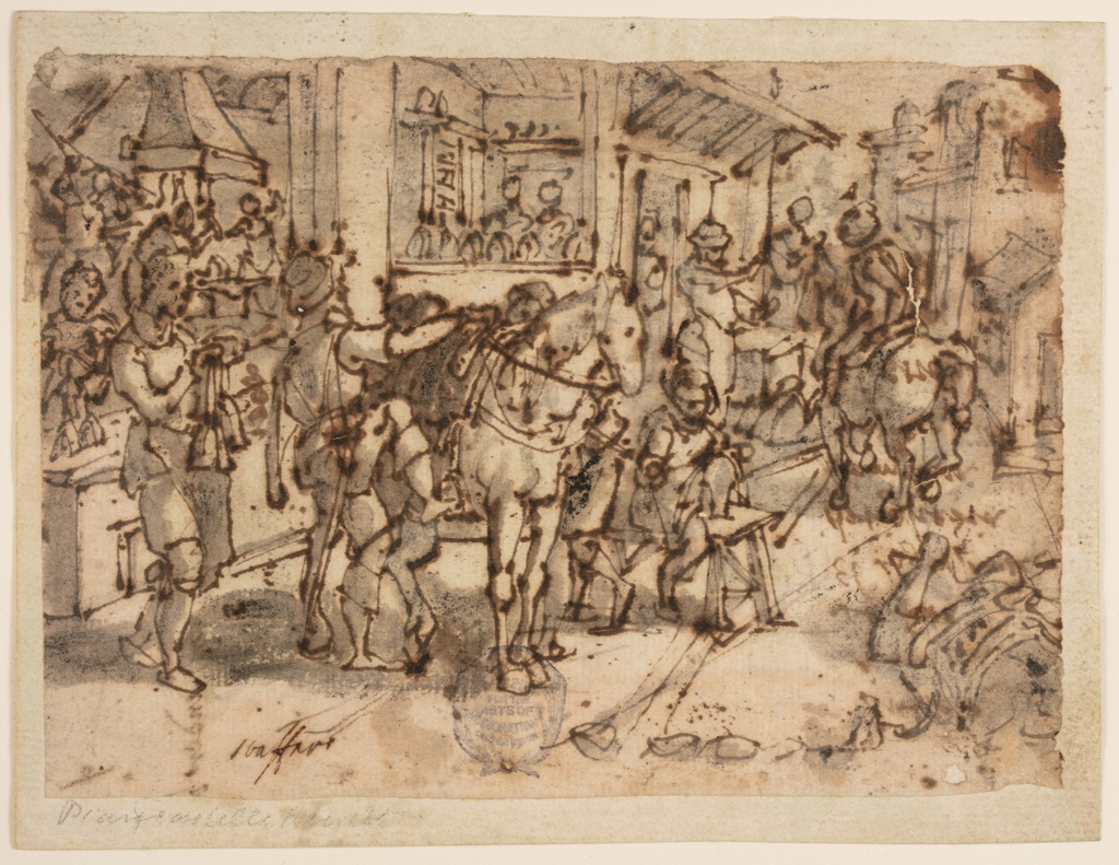 Scene outside a stirrup maker's shop.  In the foreground, a man is mounting his horse.  At left, a woman holds stirrups suspended by their straps.  The interior of the shop, showing the process of making stirrups, visible at left.  Another figure on horseback at right.