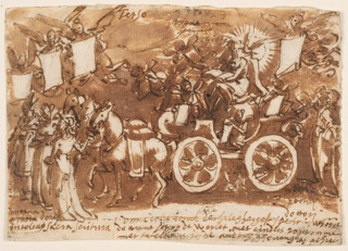 "Horizontal rectangle. A chariot drawn by three horses. In the chariot, a female figure holding an open book; a dove surrounded by rays sits on her shoulder. Preceding or leading the horses are two women and a bishop in his robes. Above: ""Terzo."""